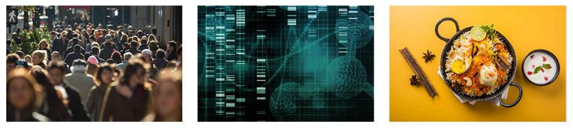Organisation Image (Earlham Institute: Crowd, Gene Sequencing, Bowl of Food)