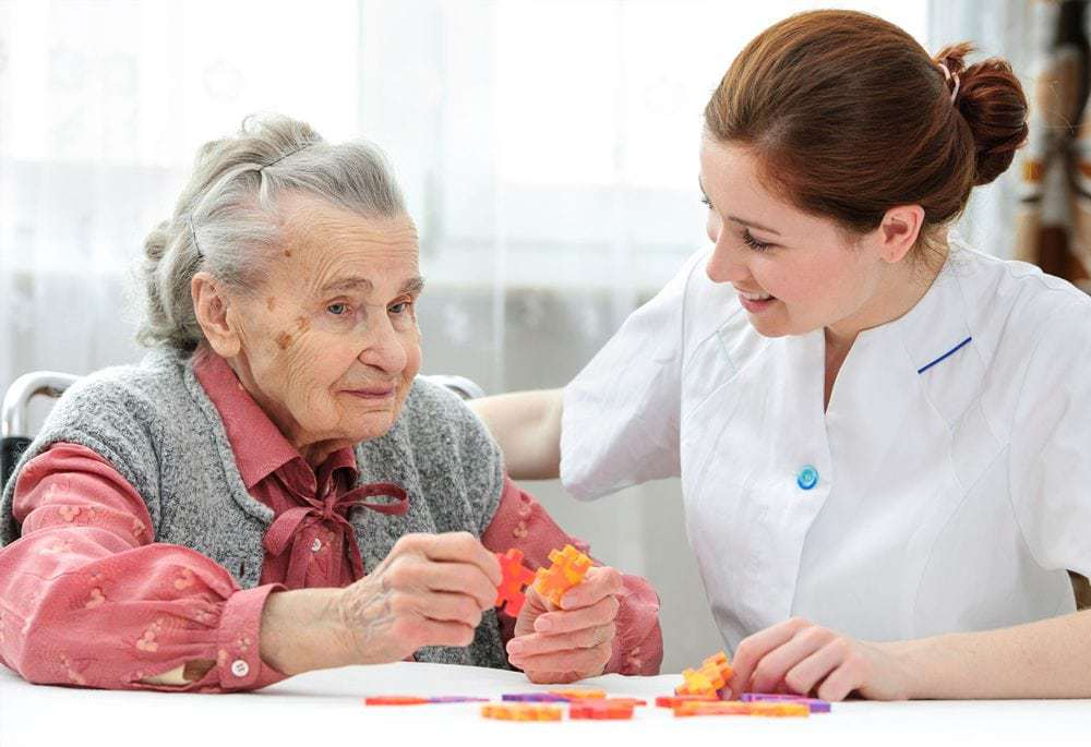 Company Image (1 Stop Healthcare: Resident and Carer talking)