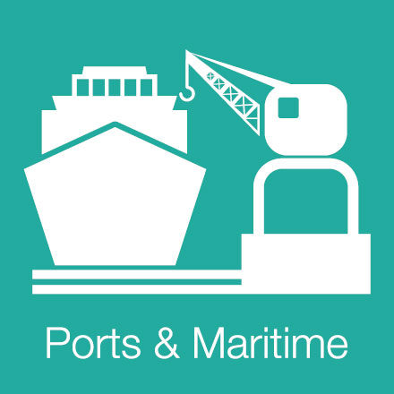 Ports & Maritime (Industry Level Icon: Ship, Port-Crane)