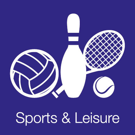 Sports & Leisure (Industry Level Icon: Football, Bowling Pin, Tennis Racket & Ball))