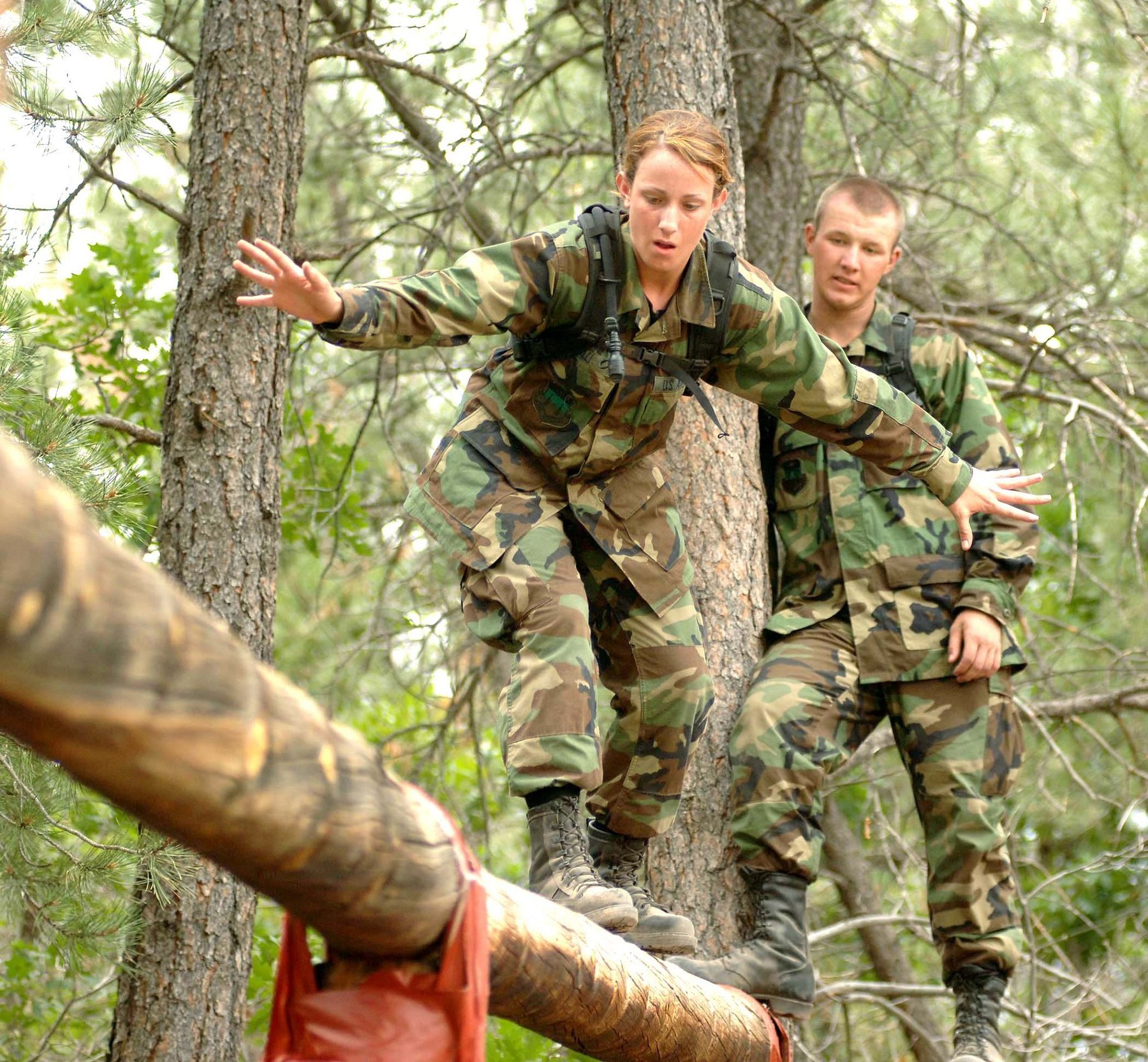 HM Forces (Industry Header: Basic Training, Person Balancing on Log)