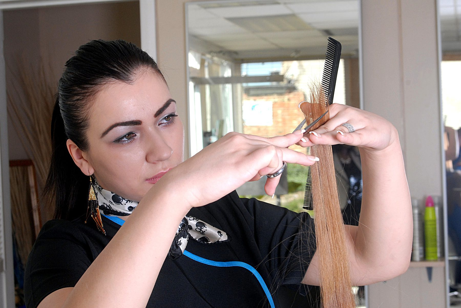 Hairdressing and Barbering (Sector Header: Woman Cutting Hair)
