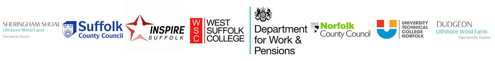 Site Image (Logos: SCC, Inspire Suffolk, West Suffolk College, DWP, NCC, UTCN)