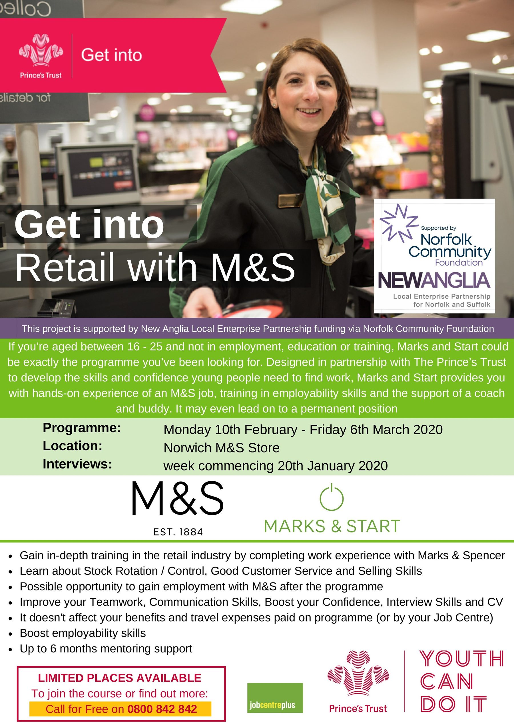Prince's Trust 2020: Get Into Retail M S Norwich