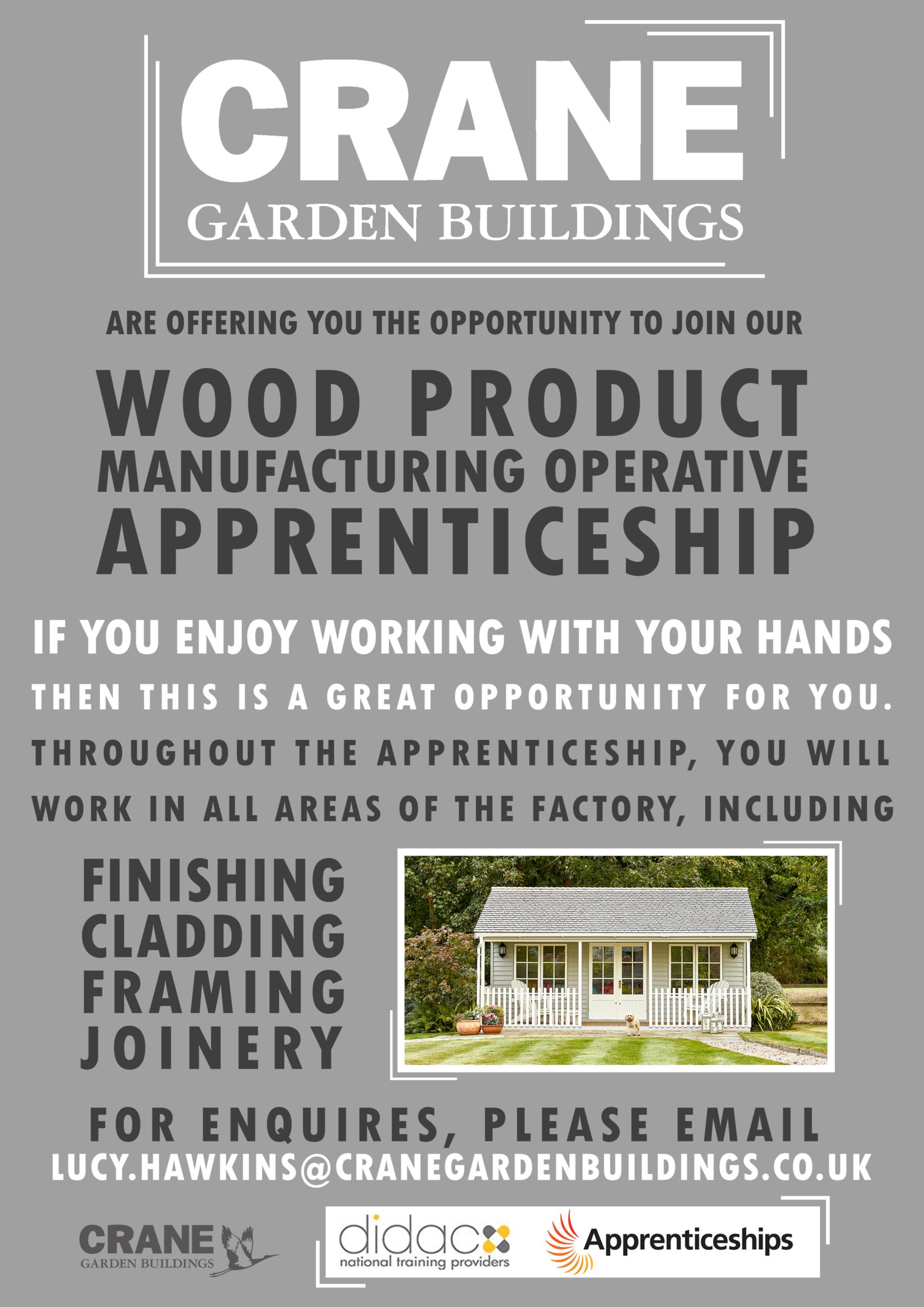 Company Image (Crane Garden Buildings: Wood Product Apprenticeship Advert)